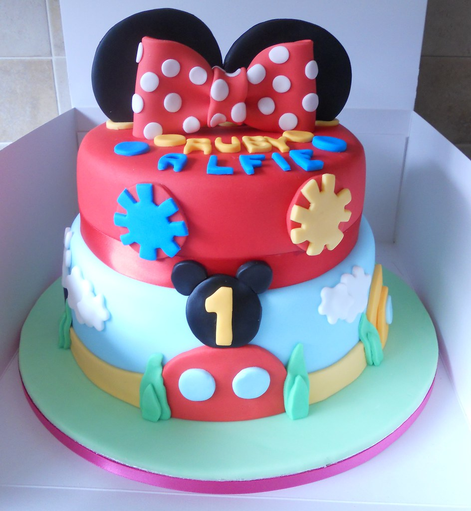 Fine Mickey Mouse Clubhouse Birthday Cake 2 Tier Bottom Tier Ch Flickr Personalised Birthday Cards Veneteletsinfo