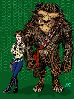 Belle and Beast as Han and Chewy -iPad sketch | by mystery monotreme