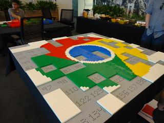 LEGO Google Chrome Logo partially built