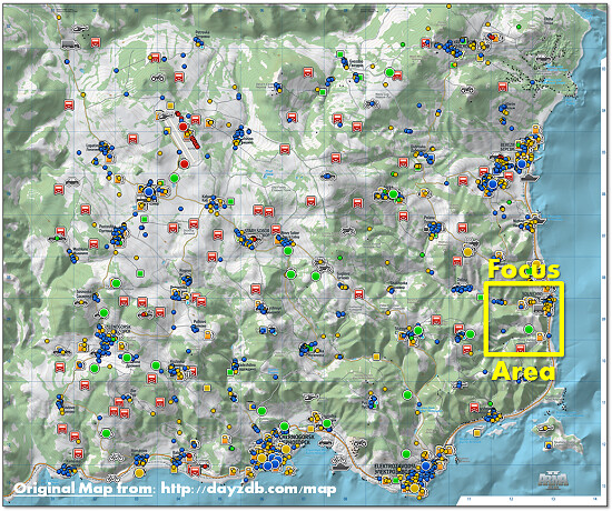 DayZ Overview Map | DayZ Overview Map with Focus Area from 1 ... on roblox map, the last of us map, gta 5 map, the last remnant map, taviana map, l.a. noire map, kerbal space program map, dragon's dogma map, world of tanks map, bully map, planetside 2 map, dead island map, dark souls map, cherno map, the sims 4 map, skyrim map, the legend of zelda map, minecraft map, midtown madness map,