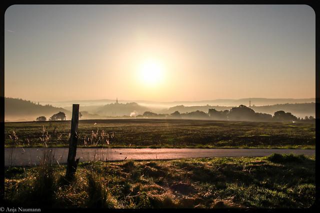 misty autumn sunrise