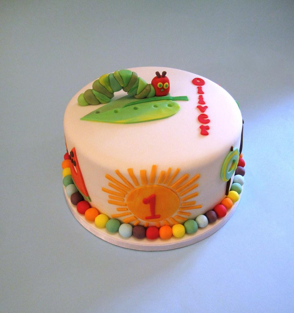 Outstanding Very Hungry Caterpillar 1St Birthday Cake I Love The Vibra Flickr Personalised Birthday Cards Veneteletsinfo