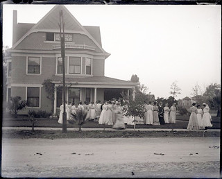 Dove Ball (1902) - A reception for new students in front of Baldwin House on College and Second
