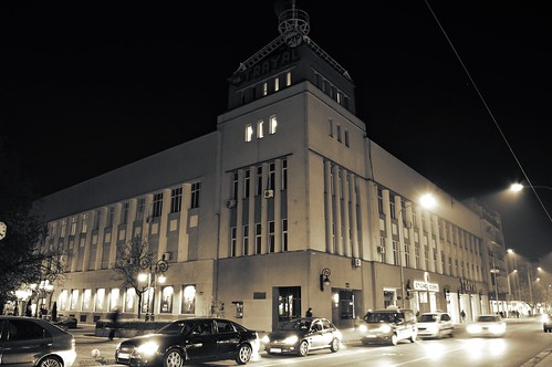 car night road building theater city citycenter dark black white camera nikon d3200