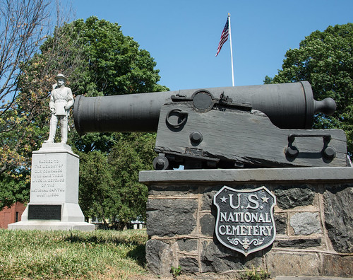 Cannon and Memorial Near Entrance to Battleground National Cemetery