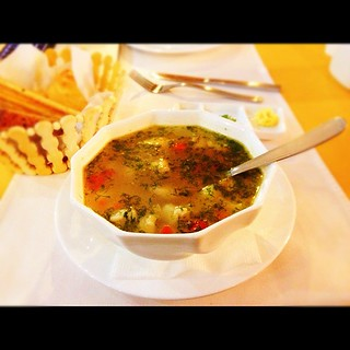 "Pic: My lunch today: ""Уха Царская"", Russian fish soup with salmon and walleye. Very good! #mongolrally 