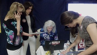 Robin, Deborah, Susanna at Cruz Headquarters two nights before early voting began. | by kwtp2012
