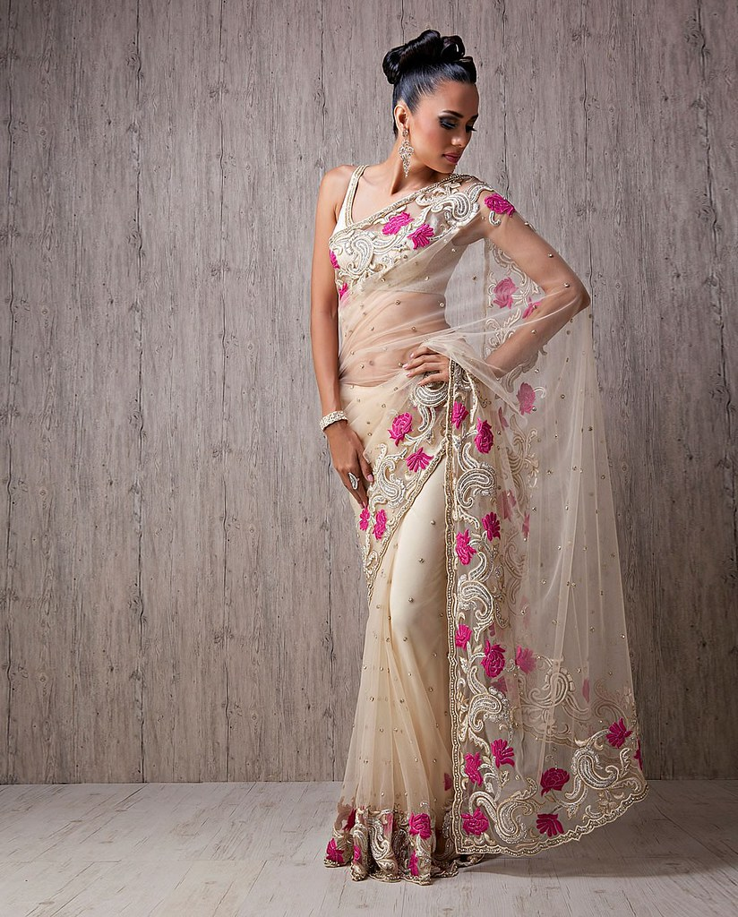 a2a78c169e Com Meena Bazaar – White net saree with Resham Paisleys and Resham border  at BigIndianWedding.Com