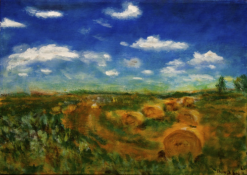 summer sky usa art field clouds painting landscape lawrence artwork farm harvest kansas hay bales impressionist impressionistic
