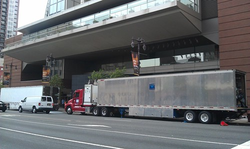 Paranoia Movie Equipment Trucks on Broad St.   by Cavalier92