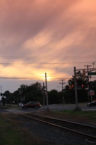 hot night clouds evening newjersey haze cloudy traintracks humidity mountlaurel masonville