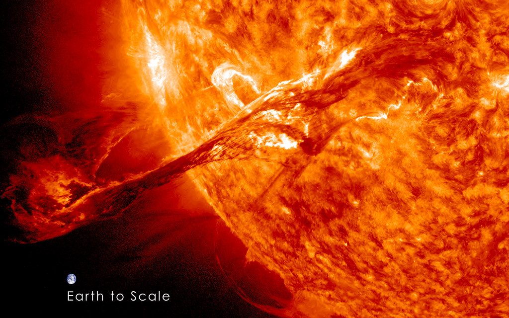 Magnificent CME Erupts on the Sun with Earth to Scale