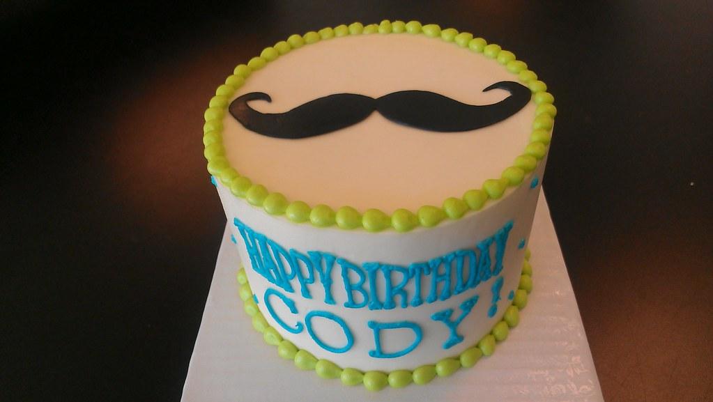 Amazing Mustache Birthday Cake Custom Cakes Require At Least 14 Da Flickr Funny Birthday Cards Online Necthendildamsfinfo