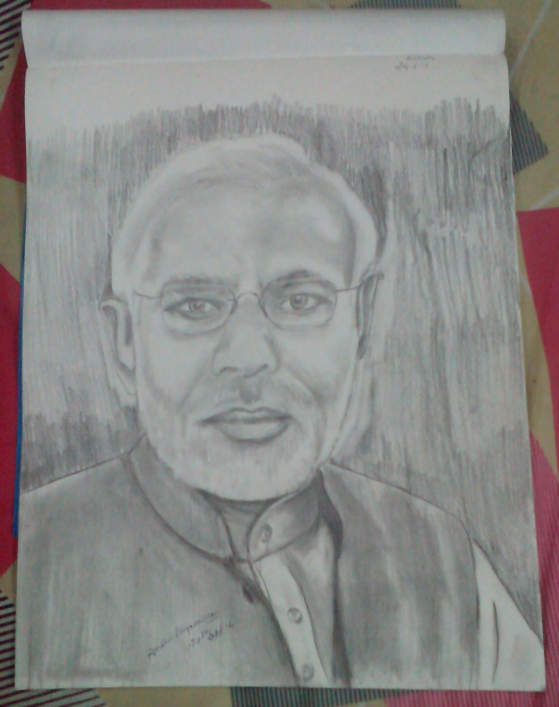 Pm modi pencil sketch anshu priyadarshani flickr