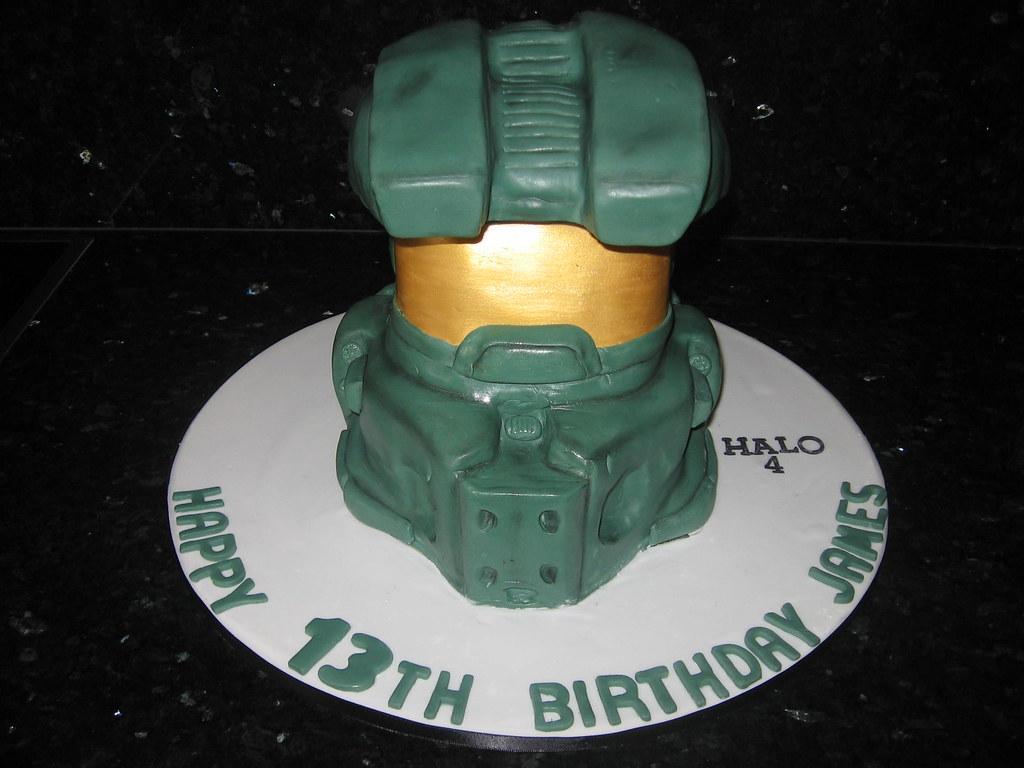 Super Halo 4 Helmet Cake Koula Kakopieros Flickr Birthday Cards Printable Nowaargucafe Filternl