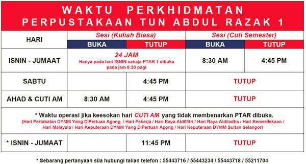 Makluman Waktu Perkhidmatan Perpustakaan Tun Abdul Razak U Flickr
