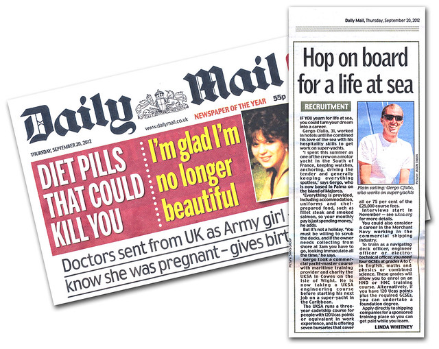 Hop on board for a life at sea. Published - Daily Mail, September 20, 2012.
