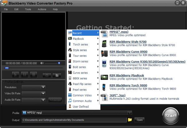 BlackBerry 8350i Curve Video Converter