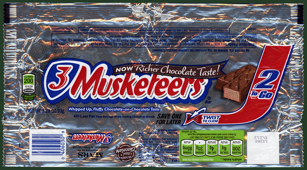 ... Mars Inc - 3 Musketeers - 2-to-Go - candy wrapper - August
