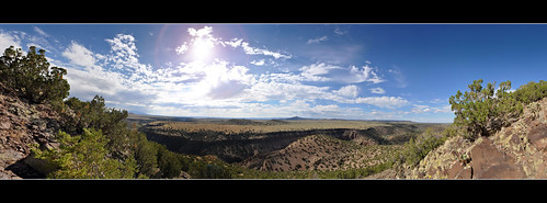 panorama newmexico santafe route66 plateau hills mesa santaferiver labajada lacieneguilla cajadelrio tetillapeak pre1932alignment cerroseguro