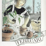 Lena Anderson February postcard (Sweden)