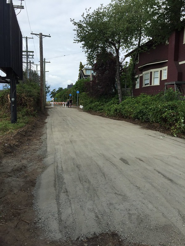 Rolled gravel Arbutus Greenway at 16th Ave north side