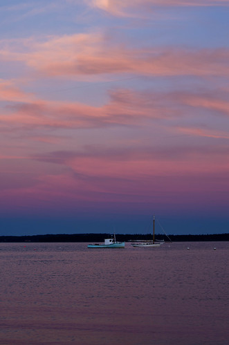 maine boats lincolnville sunset clouds color coast