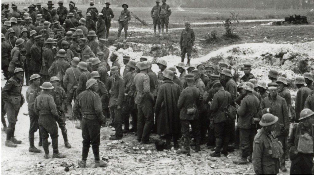 Battle of Hamel  - German POWs gathered near Corbie, 4th July 1918 (detail view)