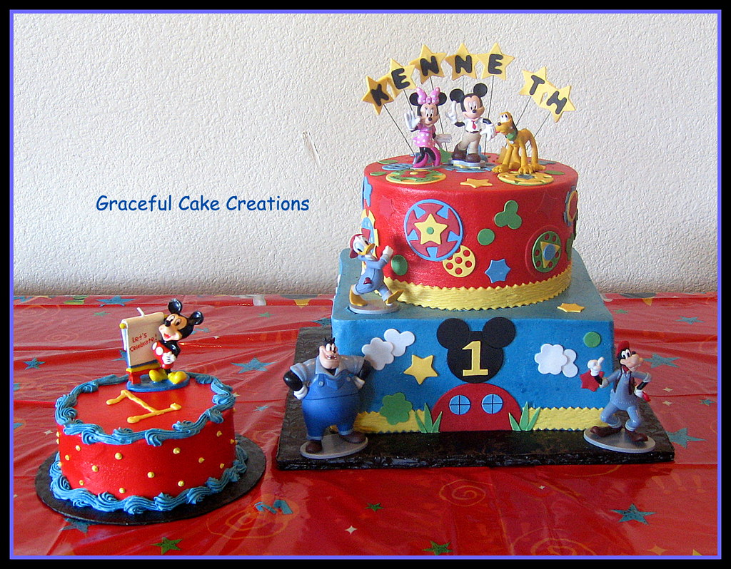 Marvelous Disney Mickey Mouse Club House 1St Birthday Cake Grace Tari Flickr Personalised Birthday Cards Veneteletsinfo