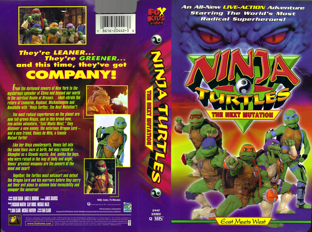 FOX KIDS VIDEO :: NINJA TURTLES: THE NEXT MUTATION - EAST MEETS WEST ..VHS cover (( 1998 )) by tOkKa