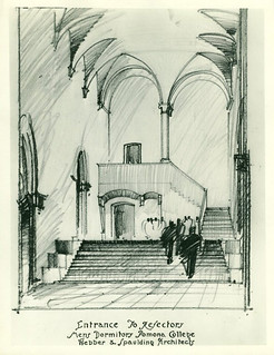 Architect's drawing of Frary Dining Hall, 1928