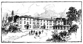 Sketch of Smiley Hall (1908), the first campus building designed to be a dormitory