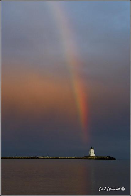 Port Maitland Lighthouse and Rainbow (EKR1538)