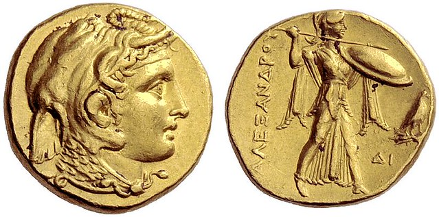 G1245 A Unique and Important Greek Gold Stater of the Ptolemaic King Ptolemy I (as Satrap), a Magnificent Depiction of Alexander the Great in Gold