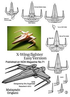 X-Wing Fighter origami diagram Easy version 3   by Matayado-titi