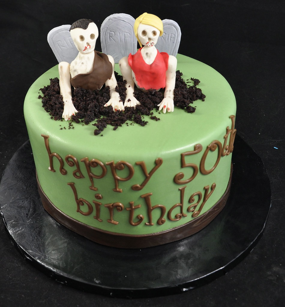 Fantastic Zombie Birthday Cake Red Velvet Cake With Cream Cheese Fil Flickr Personalised Birthday Cards Veneteletsinfo