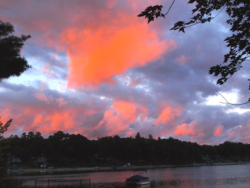morning pink lake fall water clouds mi reflections grey boat shoreline westlake pontoon september2012