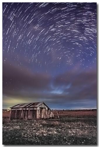 night stars landscape nightscape shed startrail