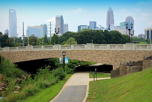 park bridge urban skyline landscape scenery charlotte scenic midtown charlottenc greenway sugarcreekgreenway