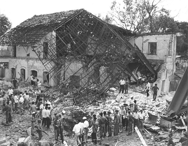 3 May 1968 - Front view of World University Service building blasted by VC explosive charge