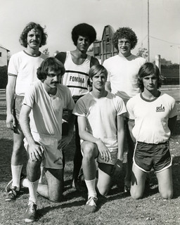Six Sagehen track athletes took part in the NAIA National Track Finals in 1976. Left to right, Dan Orr '78, John Armstrong '77, Steve Smith '76, Kent Namikas '79, Bob Orell '76 and Bill Taylor '77