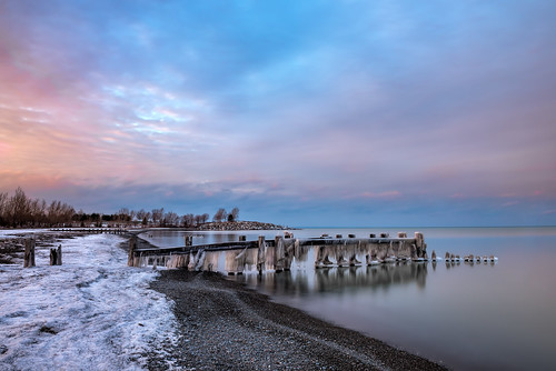 fiftypoint grimsby ontario ice snow pier sunset cloud sky longexposure reflection winter outdoor seascape landscape