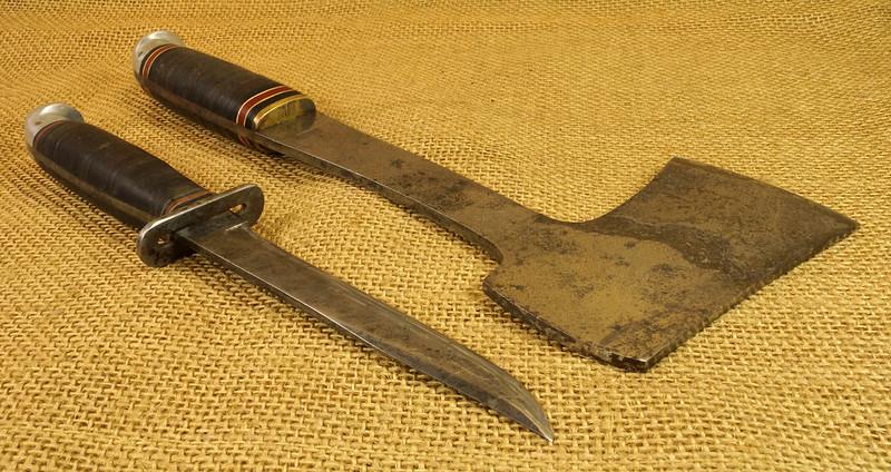 RD14019 Vintage Western Knife & Hatchet Combo Boulder, Colo. DSC05377