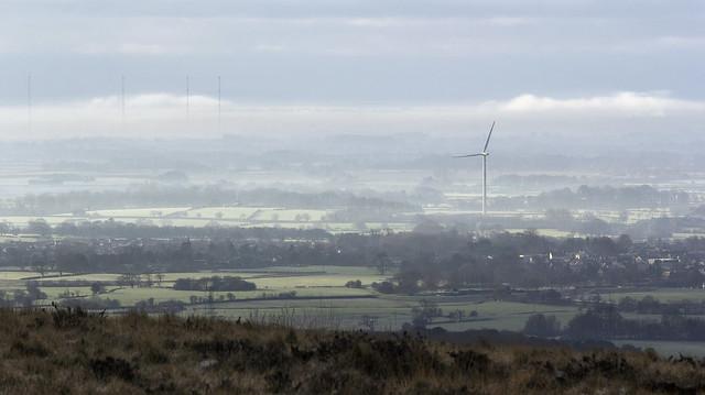Fylde mist seen from Nicky Nook, Scorton, Forest Of Bowland AONB, Lancashire, UK