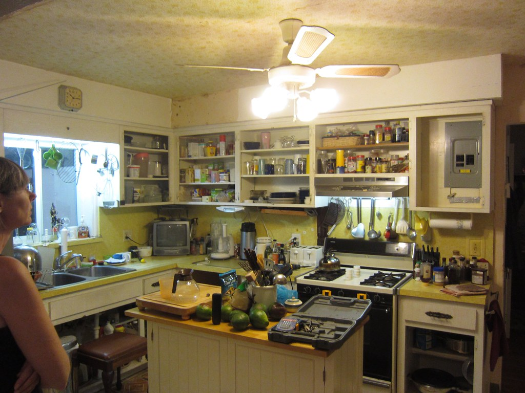 Messy Old Cluttered Kitchen Cabinet Doors Removed Flickr