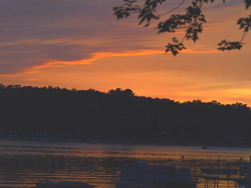 trees sunset summer orange lake clouds mi boats westlake september2012
