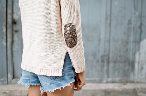 DIY SEQUIN ELBOW PATCH SWEATER 2 | by apairandaspare