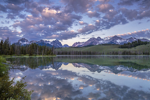 sunrise mountains mountain lake reflection water clouds skies sky trees pinetrees idaho canon5diii outdoor landscapes landscape tree forest wood