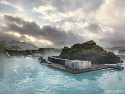 bluelagoon clouds color iceland moss outdoorphotography sky snow steam sunrise water iphone7 iphoneography