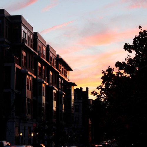 sunset silhouette square evening baltimore mountvernon